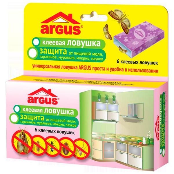 Ловушки клеевые  ARGUS от пищевой моли,тараканов, муравьев, мокриц, пауков 6 шт.